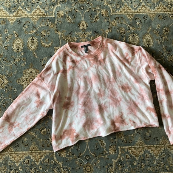 Pink and white tie dye crew neck